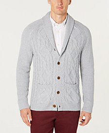 Tasso Elba Men's Shawl Collar Cable Knit Cardigan, Created for Macy's