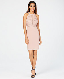 Morgan & Company Juniors' Lace-Top Bodycon Dress
