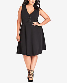 City Chic Trendy Plus Size Embellished Fit & Flare Dress