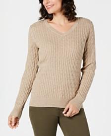 Karen Scott Cotton V-Neck Sweater, Created for Macy's