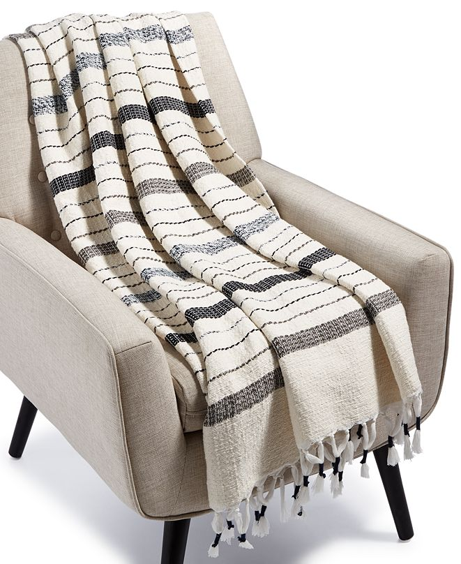 Lucky Brand CLOSEOUT! Mingled Stripe Throw, Created for Macy's