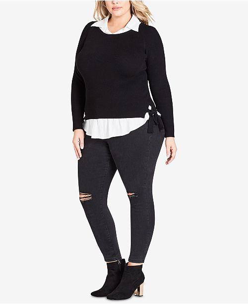 City Chic Trendy Plus Size Layered Look Collared Top Tops Plus