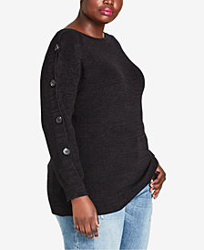 City Chic Trendy Plus Size Ribbed Button-Sleeve Sweater