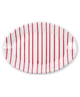 Net & Stripe Red Stripe Small Oval Platter