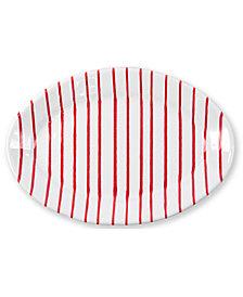 VIETRI Net & Stripe Red Stripe Small Oval Platter