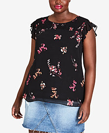 City Chic Trendy Plus Size Smocked Floral-Print Top
