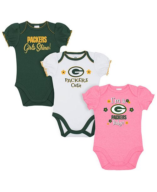 Gerber Childrenswear Green Bay Packers 3 Pack Creeper Set, Infants (0-9 Months)