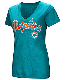 G-III Sports Women's Miami Dolphins Tailspin Script Foil T-Shirt