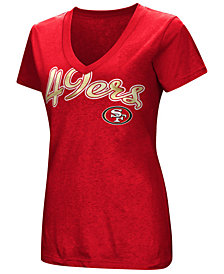 G-III Sports Women's San Francisco 49ers Tailspin Script Foil T-Shirt