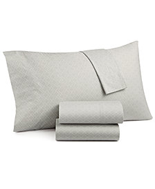 Grace Home Fashions Laundry Cotton Percale 200 Thread Count 4-Pc. Printed King Sheet Set