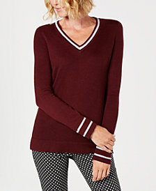 Charter Club Petite Striped-Trim Sweater, Created for Macy's