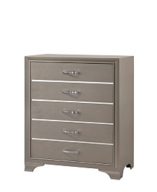 Logan 5-Drawer Chest in Champagne Finish