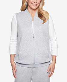 Alfred Dunner Petite Quilted Zip-Up Vest