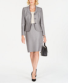 Le Suit Petite Three-Button Tweed Skirt Suit