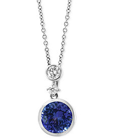 "EFFY® Tanzanite (1-1/4 ct. t.w.) & Diamond (1/6 ct. t.w.) 18"" Pendant Necklace in 14k White Gold"