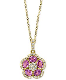 "EFFY® Pink Sapphire (1-1/5 ct. t.w.) & Diamond (1/4 ct. t.w.) Flower 18"" Pendant Necklace in 14k Gold"