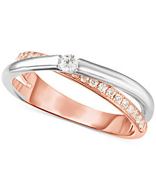 Arabella Swarovski Zirconia (1/2 ct. t.w.) Two-Tone Ring in Sterling Silver & 18k Rose Gold-Plate