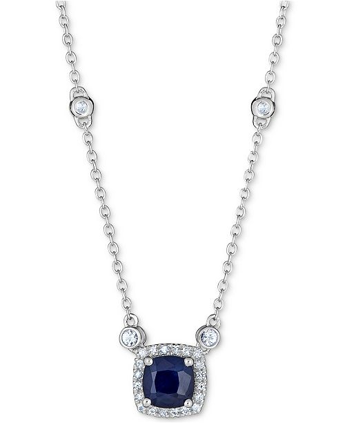 "Macy's Sapphire (1 ct. t.w.) & White Sapphire (9/10 ct. t.w.) Station 16"" Pendant Necklace in Sterling Silver"