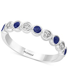 EFFY® Sapphire (1/4 ct.t.w.) & Diamond (1/6 ct.t.w.) in 14k White Gold (Also available in Emerald and Certified Ruby)