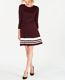 Jessica Howard Petite Striped Sweater Dress
