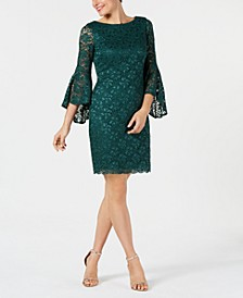 Bell-Sleeve Glitter Lace Dress
