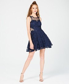 City Studios Juniors' Lace Appliqué Fit & Flare Dress