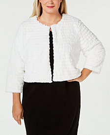 Calvin Klein Plus Size Faux-Fur Shrug