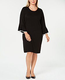 Calvin Klein Plus Size Bell-Sleeve Sweater Dress