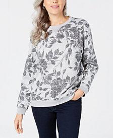 Karen Scott Petite Printed Sweatshirt, Created for Macy's