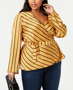 Vintage & Retro Shirts, Halter Tops, Blouses I.n.c. Plus Size Striped Wrap Top Created for Macys $79.50 AT vintagedancer.com