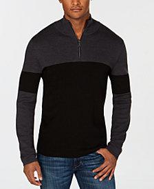 DKNY Men's Colorblocked Quarter-Zip Sweater