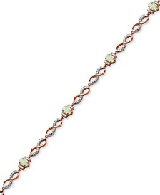 Imitation Opal & Diamond Accent Link Bracelet