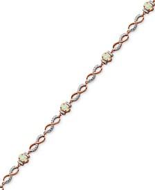 Imitation Opal & Diamond Accent Link Bracelet