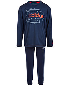 adidas Little Boys Graphic-Print T-Shirt	 & Jogger Pants