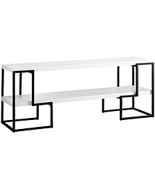 """Black Metal 60""""L Tv Stand in White"""