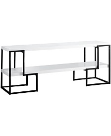 """Monarch Specialties Black Metal 60""""L Tv Stand in White"""