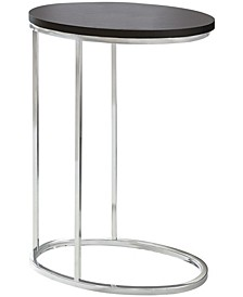 Chrome Metal Oval Edgeside Accent Table in Cappuccino