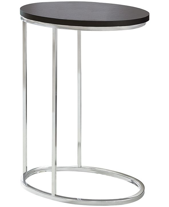 Monarch Specialties Chrome Metal Oval Edgeside Accent Table in Cappuccino