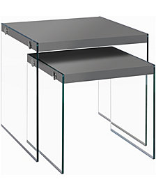 Nesting Table - 2Pcs Set with Tempered Glass