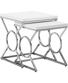 Monarch Specialties Chrome Metal 2Pcs Set Nesting Table in Glossy White