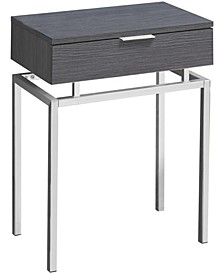 "Chrome Metal 24""H Side Accent Table in Grey"