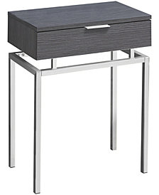"Monarch Specialties Chrome Metal 24""H Side Accent Table in Grey"