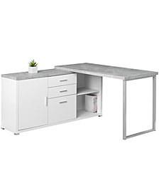 "Monarch Specialties Cement Right/Left Side Computer Desk  60""L in White"