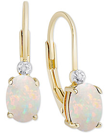 Birth Gemstone & Diamond Accent Drop Earrings in 18k Gold-Plated Sterling Silver (Available in all Birthstones)