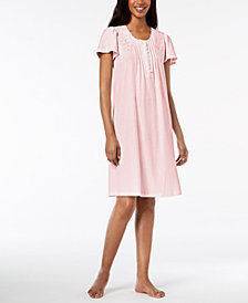 Miss Elaine Striped Embroidered Short Nightgown