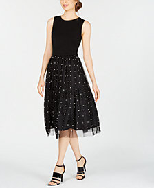 Calvin Klein Imitation Pearl Mesh A-Line Dress