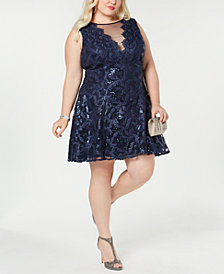 Morgan & Company Trendy Plus Size Illusion Lace Dress