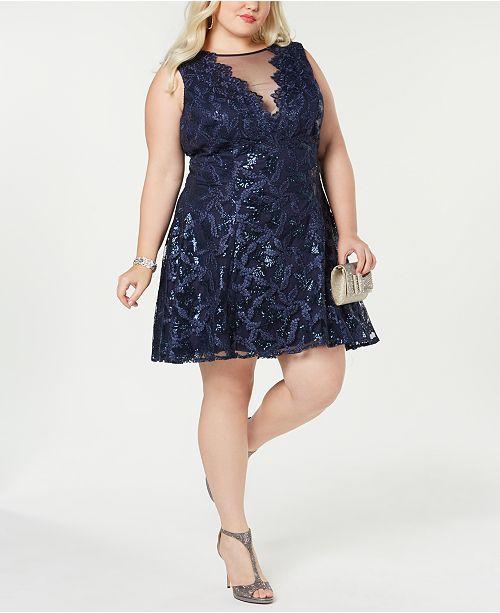Trendy Plus Size Illusion Lace Dress