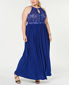 Morgan & Company Trendy Plus Size Lace-Bodice Gown