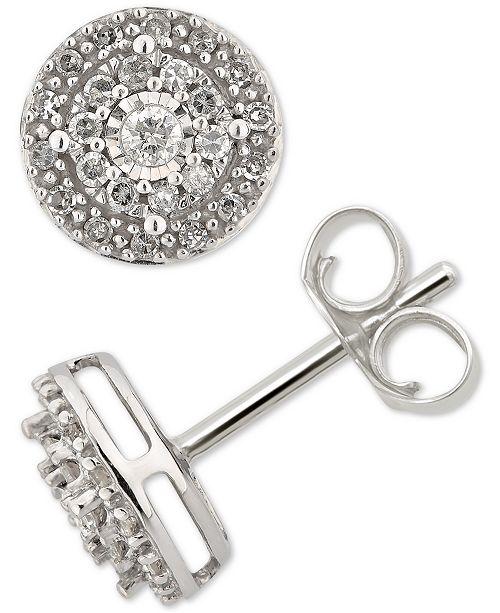 2aca1c3c0 Macy's Diamond Cluster Stud Earrings (1/4 ct. t.w.) in 14k White ...